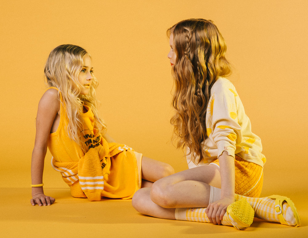 Bold kids fashion editorial with colour lights created by Lolove Studio for Canadian Poster Child Magazine